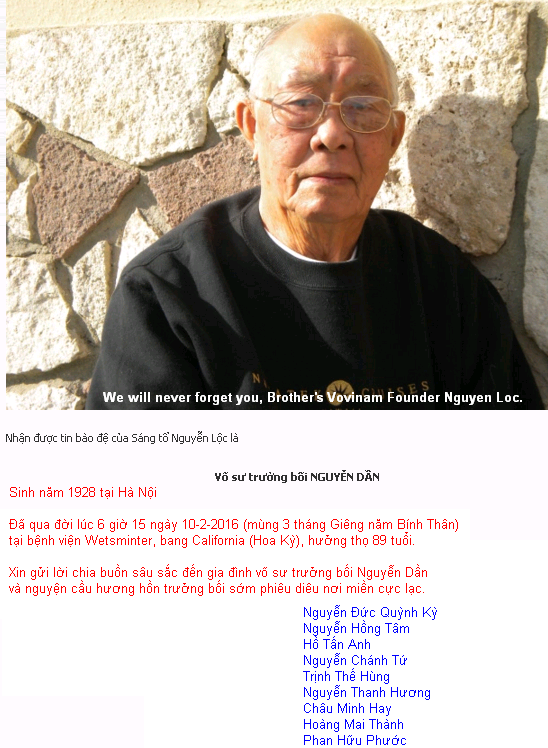We will never forget you, Brother's Vovinam Founder Nguyen Loc